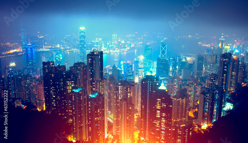 Stickers pour porte Hong-Kong Hong Kong Night View