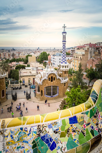 Ceramic bench and entrance pavilion of park Guell Canvas Print
