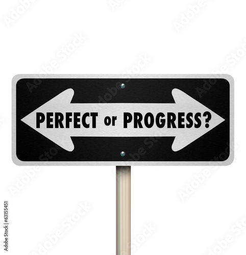 Perfect or Progress Arrow Signs Pointing Road Ahead Canvas Print