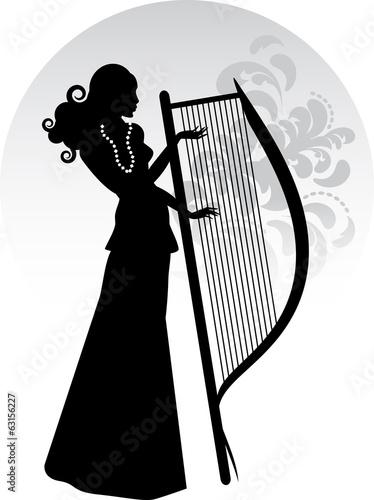 Obraz na plátně  Donna con arpa