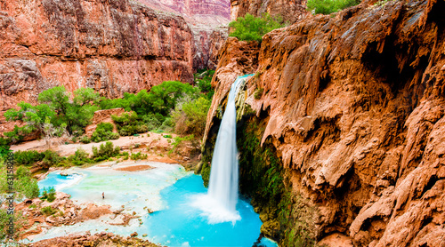 Poster Natuur Park Havasupai, Grand Canyon waterfalls