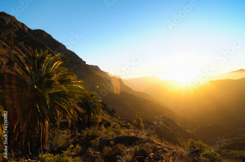 Printed kitchen splashbacks Canary Islands Sunset over the Mountains
