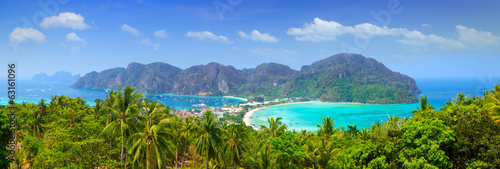 Panorama of Phi phi island, Krabi, Southern of Thailand. Wallpaper Mural