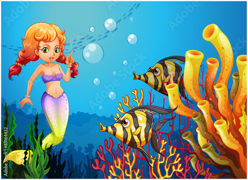 Aluminium Prints Submarine A mermaid watching the two fishes