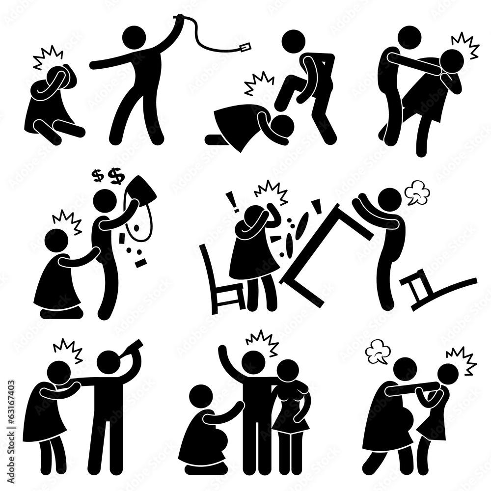 Fototapeta Abusive Husband Helpless Wife