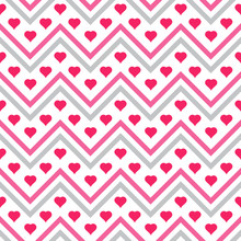 Hearts And Chevron Seamless Pattern