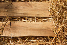 Vintage Background Of Wood Plank And Dry Grass, Hay, Straw