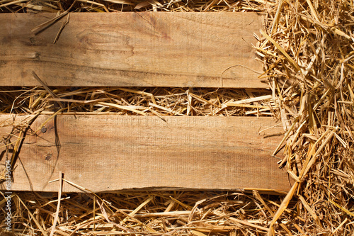 vintage background of wood plank and dry grass, hay, straw Fototapete
