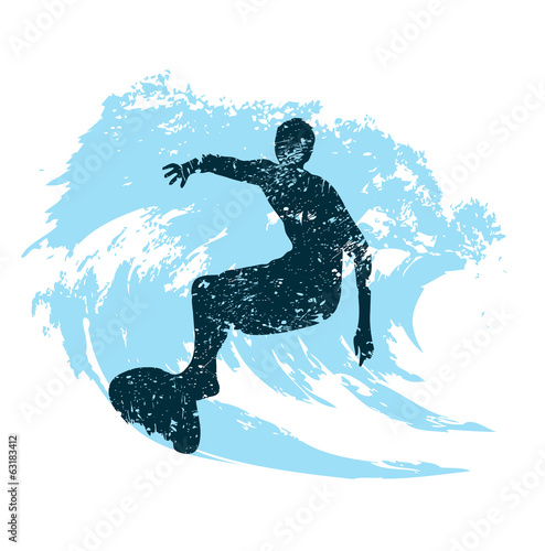 silhouette of a surfer in grunge style splashes #63183412