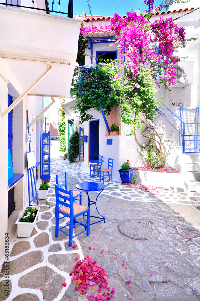 Fototapeta Beautiful streets of Skiathos island, Greece