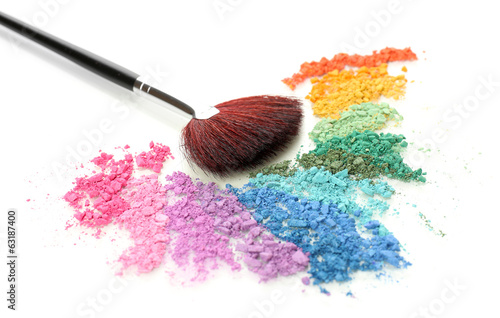 Obraz na plátne Rainbow crushed eyeshadow and professional make-up brush