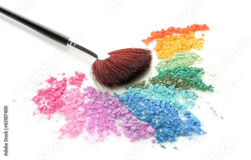 Rainbow crushed eyeshadow and professional make-up brush Fototapet