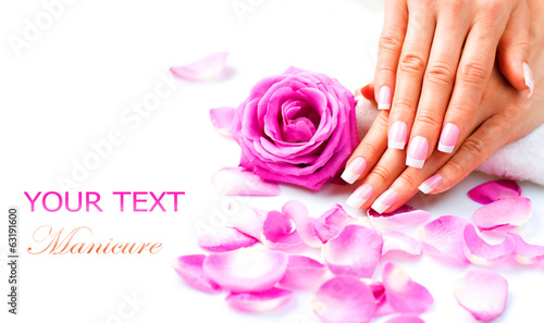 Foto op Canvas Manicure Manicure and Hands Spa. Beautiful Woman Hands Closeup
