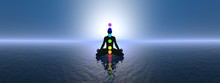 Chakras At Blue Sunset - 3D Re...