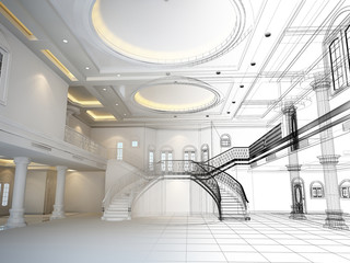 Fototapeta sketch design of interior hall