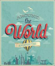Around The World Poster. Vector Illustration.