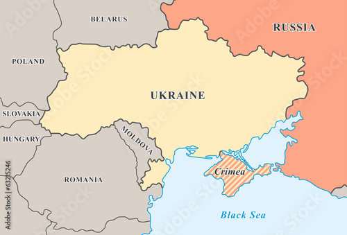 Crimea annexation. Political map of Crimean crisis 2014. Wallpaper Mural