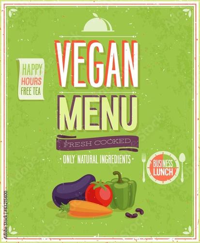 Papiers peints Affiche vintage Vintage Vegan Menu Poster. Vector illustration.