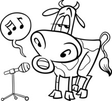 Singing Cow Cartoon Coloring P...