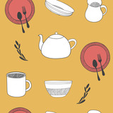 Kitchen seamless background. Doodle seamless pattern