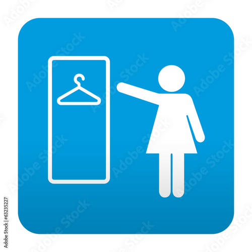 Fotografie, Obraz  Etiqueta tipo app azul simbolo vestuario femenino