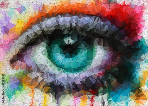 Fototapeta beautiful eye in geometric styling abstract geometric background obraz