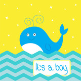It's a boy  shower card with cute cartoon whale and sparkles.