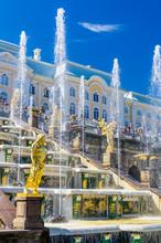 View On Great Cascade Fountain In Peterhof, Russia