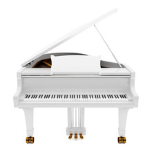White Grand Piano Isolated On ...