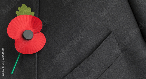 In de dag Poppy Poppy on jacket lapel for Remembrance, Armistice and Anzac Day.
