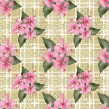 Seamless Flowers Hibiscus Pattern On Beige Lace