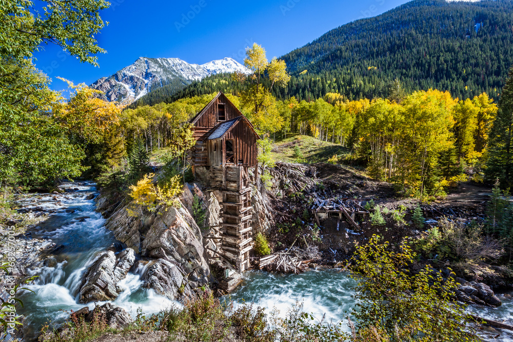 Fototapety, obrazy: Abandon Crystal Mill in Colorado mountain