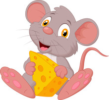 Cute Mouse Cartoon Holding Che...