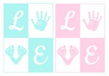 Baby Boy And Girl, Handprint, Footprint, Vector Set