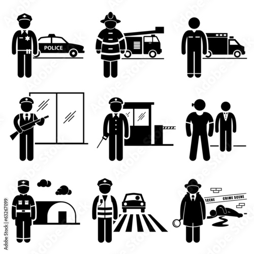 Canvas Print Public Safety and Security Jobs Occupations Careers
