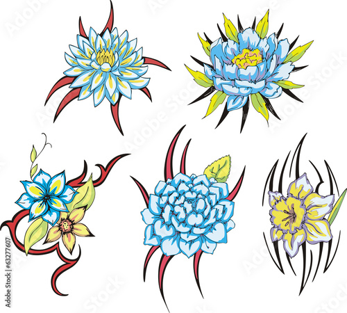 891758b9d blue tribal flower tattoos - Buy this stock vector and explore ...