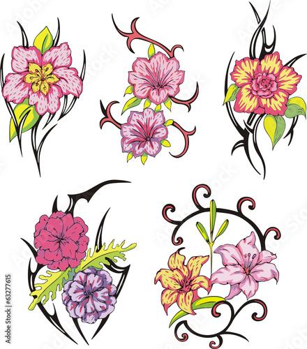 c657b28da tribal flower tattoos - Buy this stock vector and explore similar ...