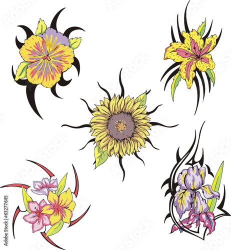 01a91a839 Set of tribal flower tattoos - Buy this stock vector and explore ...