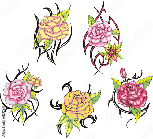 7928c5711 Set of tribal rose flower tattoos - Buy this stock vector and ...