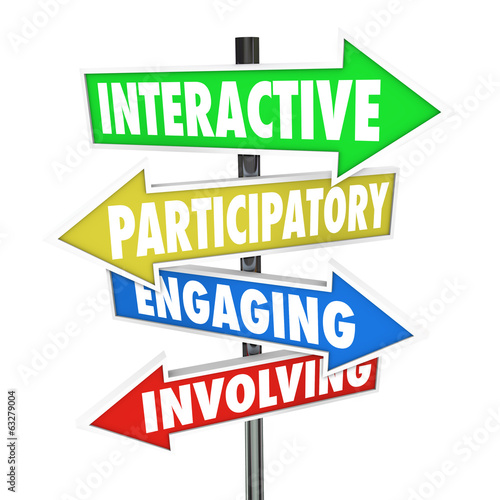 Interactive Participatory Engaging Involving Arrow Road Signs Canvas Print