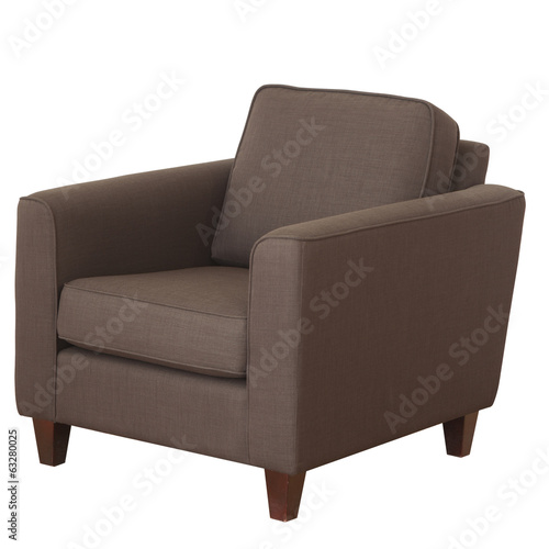 Fotografie, Obraz  Elegant armchair of brown fabric isolated on white background