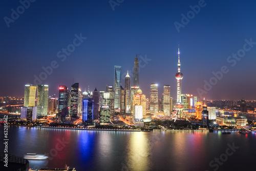 Tuinposter New York City shanghai lujiazui night view