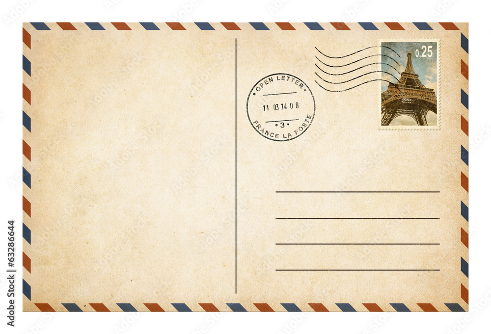 Fototapeta Old style postcard or envelope with postage stamp isolated