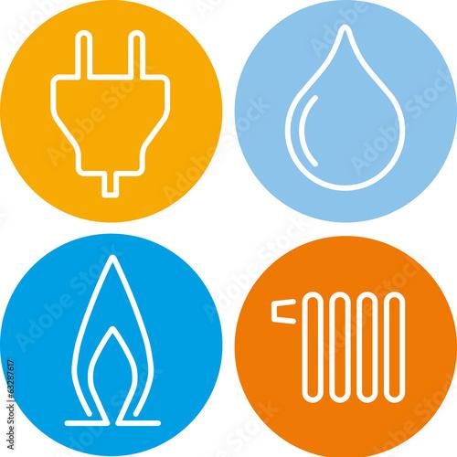 Fotografía  vier icons strom gas wasser wärme