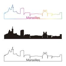 Marseilles Skyline Linear Styl...