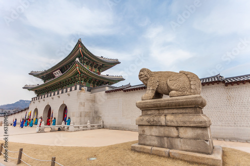 Fotobehang Seoel Gyeongbokgung Palace in Seoul , South Korea