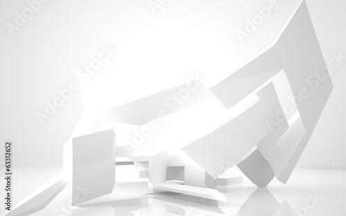 Plakat Architektura abstrakcyjna. streszczenie biały budynek na białym tle