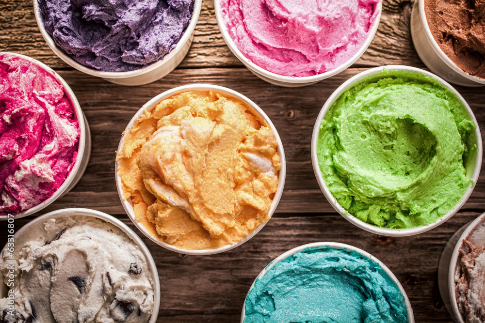 Fototapety, obrazy: Array of different flavored colorful ice cream