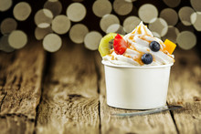 Creamy Vanilla Frozen Yoghurt With Fresh Fruit