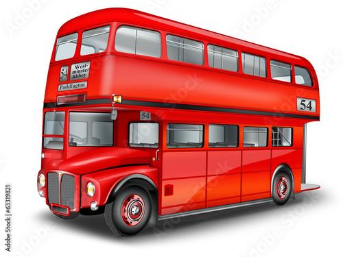 Fotografie, Tablou  englischer Doppeldeckerbus freigestellt